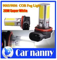 Car styling Free Shipping 2 Pcs Car 20 watt 9005/9006 LED Pure White Parking Head Fog Light Lamp Bulb 12V New COB Fog Light