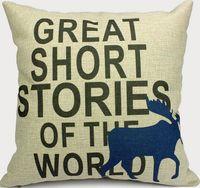christmas deer cushion cover decorative throw pillows pillowcase letters cotton linen