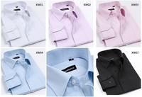 3pcs wholesale price Spring men's clothing male slanting stripe long-sleeve shirt slim easy care shirt commercial solid color