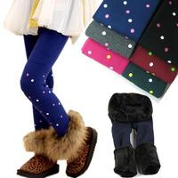 Children's winter one dot floral pants plus thick velvet leggings girls warm winter ball can not afford pants wholesale