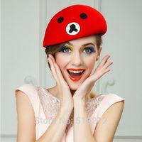 Wool Cap vintage British style cute Winnie fedoras jazz hat autumn and winter fedoras pillbox women formal hats fashion