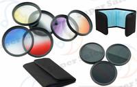 52mm 9pcs Graduated Color Lens Filter Kit Set For Nikon D3100 D3200 D5100 D5200 18-55mm DSLR Camera  Free Shipping