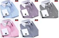 3pcs wholesale price Men's commercial shirt french cufflinks stripe long-sleeve shirt men's thin shirts