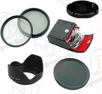 52mm UV CPL ND4 Filter Set Lens Hood  ND Lens Filter Kit For Nikon D7000 D5200 D3100 D3200 18-55MM Lens Hood Cap Free Shipping