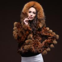 100% Genuine Raccoon Fur Trim Hood Natural Leopard Cat Fur Women Coat Real Fur Female Short Jacket For 2014 Winter Hot Sale