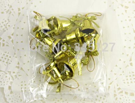 New 2014 christmas hanging decoration 9 PCS small bell Christmas jingle bells plastic bell(China (Mainland))