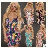 2014 New Summer Sleeveless Bodycon Dress Party Women Cute Dresses Sexy Floral Print Dress Plus Size Casual High Street Vestidos