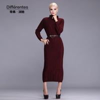 TWODS autumn winter knitted dress long sleeve extra long sweater cardigans plus size