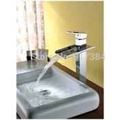 New Polished  Chrome Waterfall Bathroom Basin Faucet Single Handle Sink Mixer Tap JN6008H