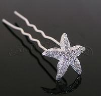 6pcs Rhinestone Starfish Hair Pins Wedding Bride Clips Free shipping