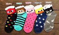 Fashion woman  animal short socks cute pig bird cat 100% cottom  free shipping