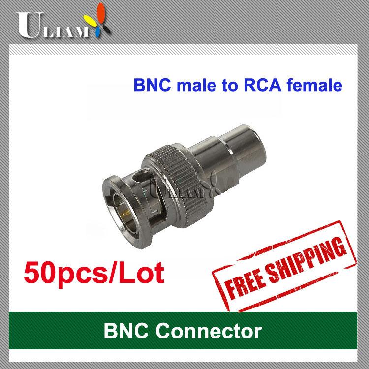 50pcs BNC male to RCA female connector for CCTV Video Camera dvr card surveillance CATV system(China (Mainland))