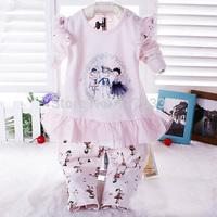 Children Autumn Clothing Set Long Sleeve T shirt + Leggings 2pcs Baby Girls Clothes Casual Set  Baby Kids Suit Retail  0-2T