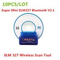 10PCS/LOT) 2014 Newest Super Mini ELM327 Bluetooth V2.1 OBD2 ELM 327 Wireless Scan Tool OBDii / OBD2 ELM 327 Bluetooth Rated