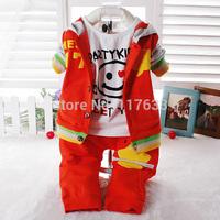 Free Shipping 2014 New Children's clothing set baby boy cartoon Coats/Top+T-shirt+Pants 3pcs suit set 2colors retail 0-2T