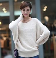2014 New Rose flower bat sleeve hollow  mohair pullover sweater