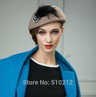 Western style 100% wool women's hats berets female berets wool felt fedoras hat