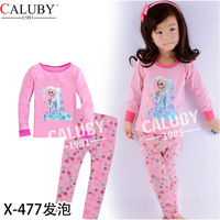 Pink  Elsa Kid pajamas Set For Girl Fashion Winter Girl  Red Pajamas Set Children Clothing Set Children Clothes set for children