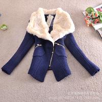 2014 Autumn Winter Women Coat Woolen Down Jacket Casacos Femininos Desigual Rabbit Fur Coat Plus Size Spring Outerwear Overcoat
