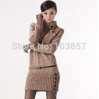 New 2014,Dresses Women Knitting Cotton Dresses Korea Style Slim Casual sweater Turtle neck long sleeve sweater coat