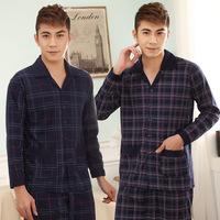 2014 spring autumn plaid Pajamas sets Men's cotton turn-down collar pijamas long sleeve suit home clothes men free shpping