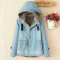 Women's warm winter hooded down jacket Lady's medium long thick denim coat Female casual leather pocket outerwear Free shipping