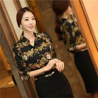 2014 New Fall Fashion Women Long-Sleeved Printing Shirt Slim Large Code Base Shirt Upscale Temperament Women Blouse
