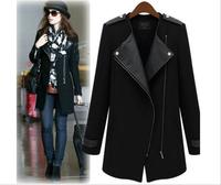 2014 Autumn winter jackets women ladies coat zipper stitching Slim woolen coat long coat female 3899