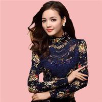 2014 Spring Women's Fashion Vintage Lace Shirt Printing High Collar Shirt Slim Lace Women Blouses