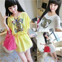 Free gif616 # 2013 new Korean version of the diamond double C loose waist beaded chiffon dress