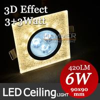 Novelty 3D Effect Led Ceiling Light Fixtures AC85-265V 6W Indoor Lighting Bedroom Lamp Living Room Lights Home Decoration