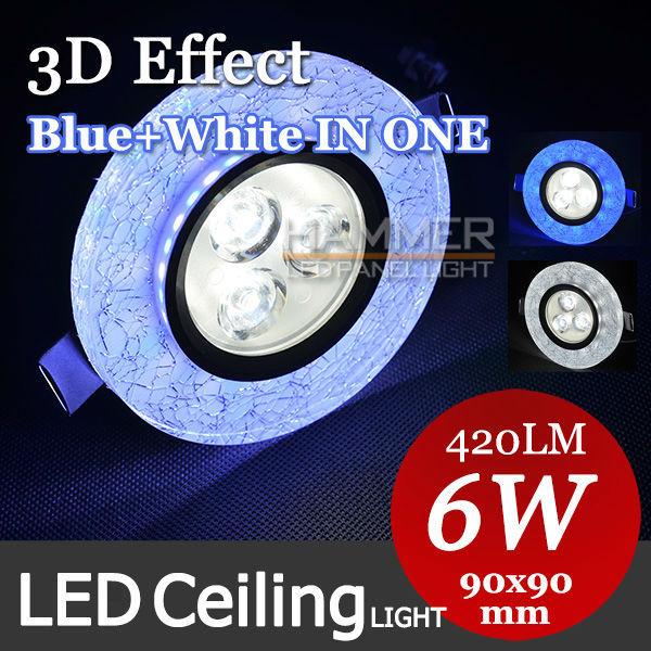 3D Effect! Decorative lights ceiling led light 3w+3W bedroom lights AC90~260V 6w lamp kitchen/lamps modern dinning room(China (Mainland))