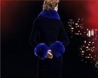 The 2014 winter warm fur collar Blue  Fox Star major suit with female The North American arctic fox scarf The Arctic Fox shawl