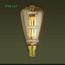 Free shipping Factory wholesale Loft Vintage Retro Light source E14/110V/220V Edison Tungsten incandescent lamp bulb ST48-E14(China (Mainland))