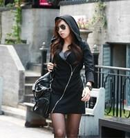 New 2014 Women Fashion Hoodies Sweatshirts Zipper Long Sleeve Long Casual Jacket Coat With Hooded Warm Dress Sweater