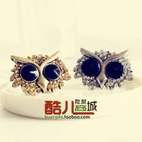 (Min order is $10) E1167 fashion vintage fashion personality super large full rhinestone owl ring finger ring opening