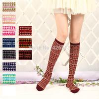Cotton Women's Girl's Autumn Winter Bamboo pattern Knee-High Socks 11 Colors for choose