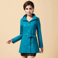 2014 New women's clothing fashion coats leather simple coats long overcoats for spring autumn plus size jackets M-4XL