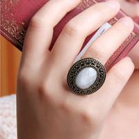 (Min order is $10) E1155 cool fashion accessories female vintage carved leopard print large huge gem ring