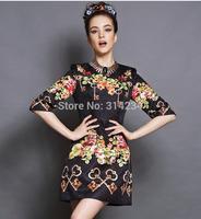 New design women's high quality dresses Jacquard black wine red S to 5XL plus size elegant summer autumn dresses G155