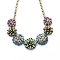 Haute Hollywood Vintage Necklace Women Jewelry J Floral Necklaces Pendants Crystal Bib Crew Statement Necklace