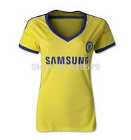 2014 2015 Best Thailand Quality women shirt V-neck woman Home away Jersey FC lady Football Shirt LAMPARD OSCAR Soccer Jersey