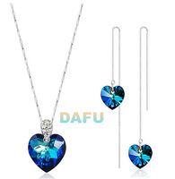 Heart of Ocean Blue Crystal Necklace & Earring, 100% Sterling 925 Silver Jewelry Sets for Women