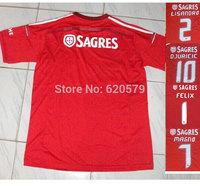 Benfica 2014 New Home Red Soccer Jerseys Futbol Tshirt camisa MAGNO#7 DJURICIC#10 100% A+++Top Thailand quality football Shirt