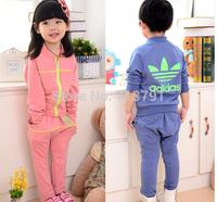 RETAIL hot sale spring/autumn 2 colors brand Girlsboys clothing sets children  coats+pants Children's sport suitsets