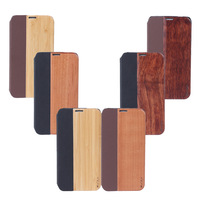 Wood & PU Leather Flip Case For Samsung Galaxy S5 Natural Ormosia Henryi Cherry Wood Bamboo Cover Luxury Design