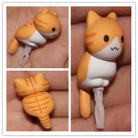 wholesale 20pcs /lot new 2015 new kpop shinee Sweet cheese  grey cat Persian cat Animated cartoon dust plug cellphone dust cap