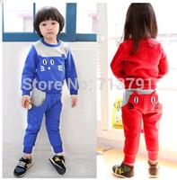 RETAIL hot sale spring/autumn cat Girls/boys cotton cloth children clothing sets coats+pants kids sport suit sets 2colors