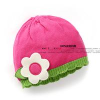 new 2014 autumn winter baby hats kids accessories girls cute sunflower knitted hat children cotton fotografia bonnet baby caps