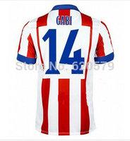 14/15 Atletico soccer jerseys Home GABI KOKE DIEGO COSTA MANDZUKIC Jersey shorts 3A+++ Top Thai Camisetas De Futbol Shirts men